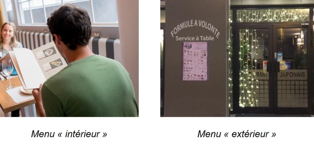 menus restaurants commercial établissement